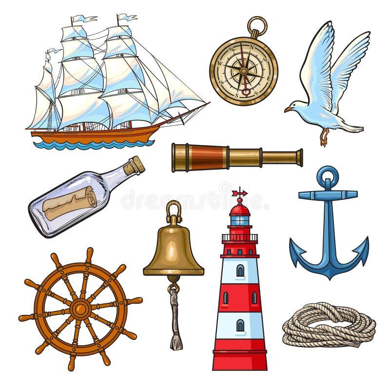 Nautiska beståndsdelar för tecknad film, vektorillustration vektor illustrationer