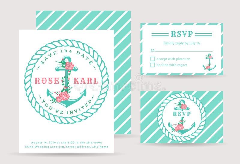 Nautiska bröllopinbjudningar vektor illustrationer