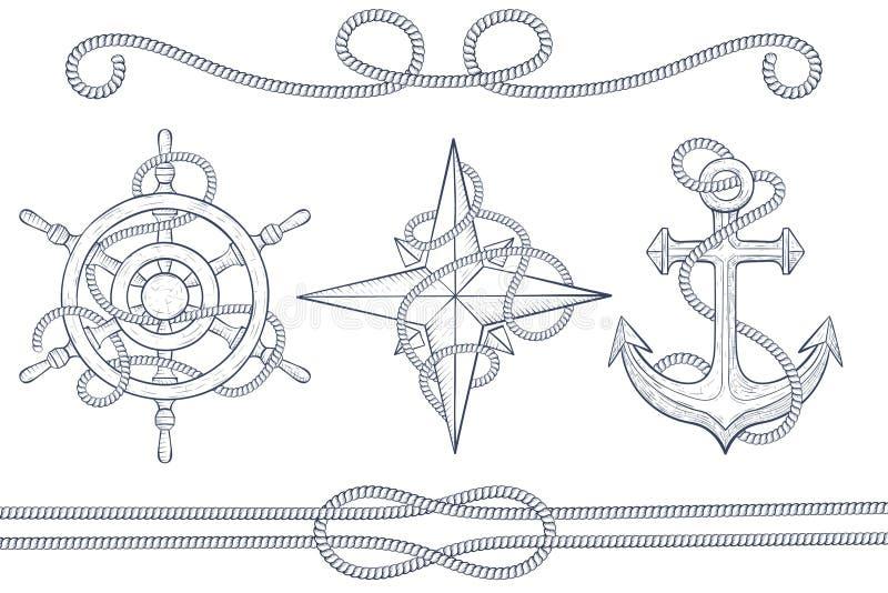 Nautiska designbeståndsdelar Styrninghjul, windrose, ankare med repet Den tecknade handen skissar vektor illustrationer