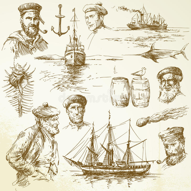 nautiska element royaltyfri illustrationer
