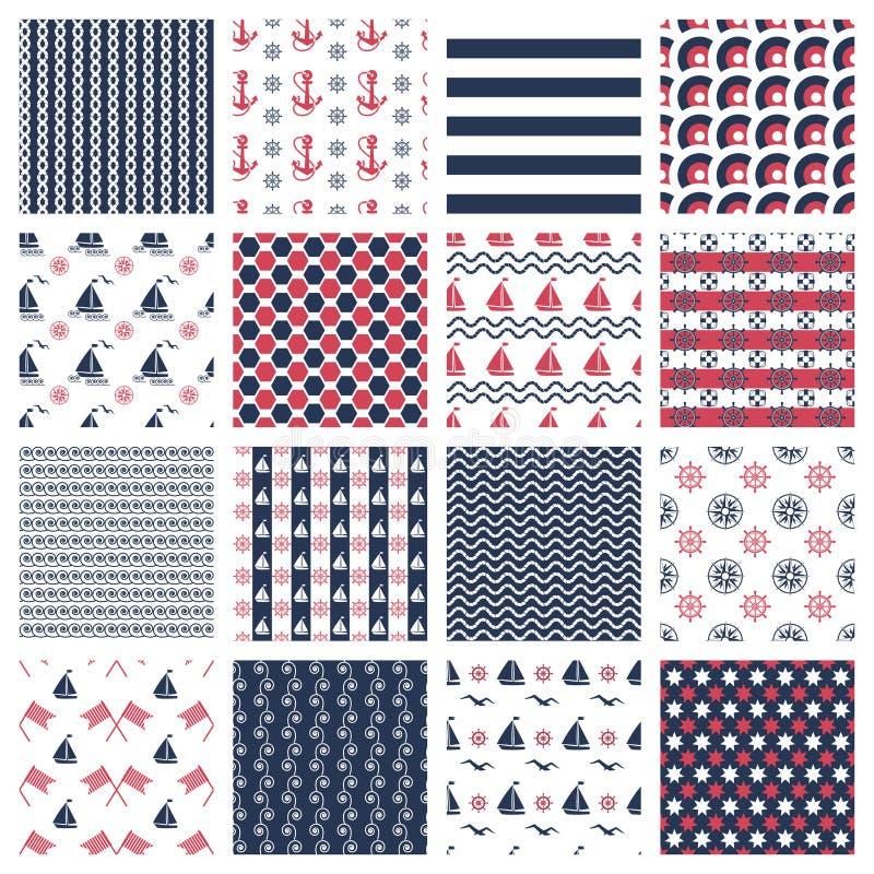 Nautiska eller marin- sömlösa modeller vektor illustrationer