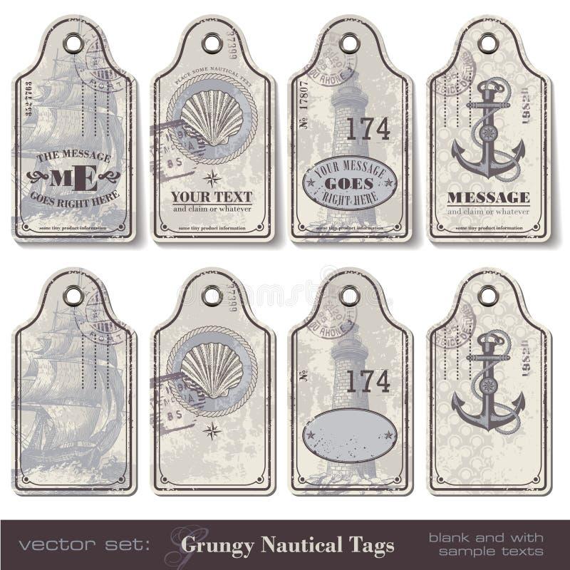 nautiska etiketter royaltyfri illustrationer