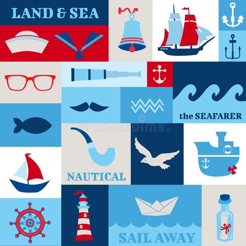 Nautiska havsdesignbeståndsdelar vektor illustrationer