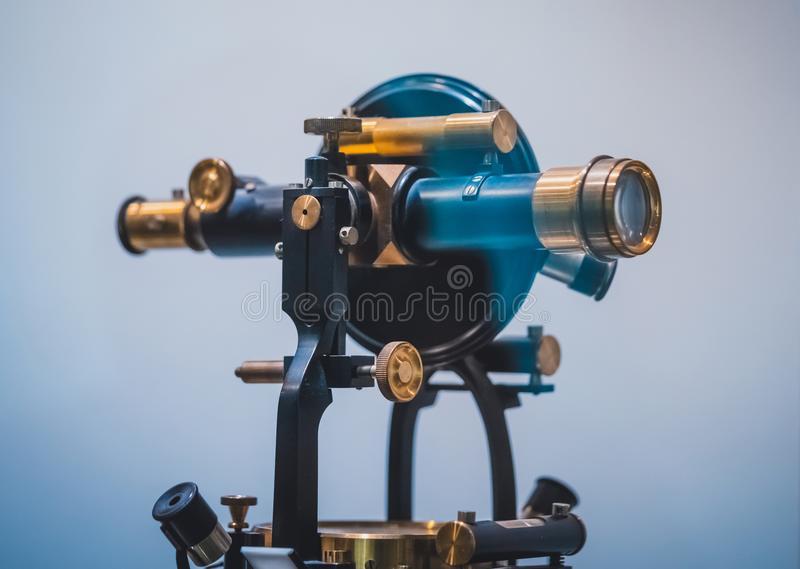 Nautiska Marine Telescope With Stand royaltyfri foto