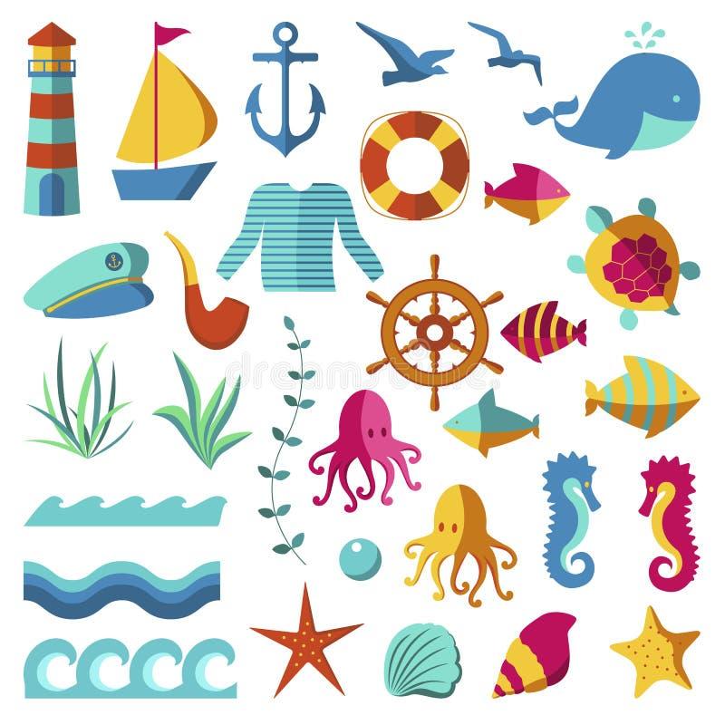 Nautiska och marin- symboler vektor illustrationer