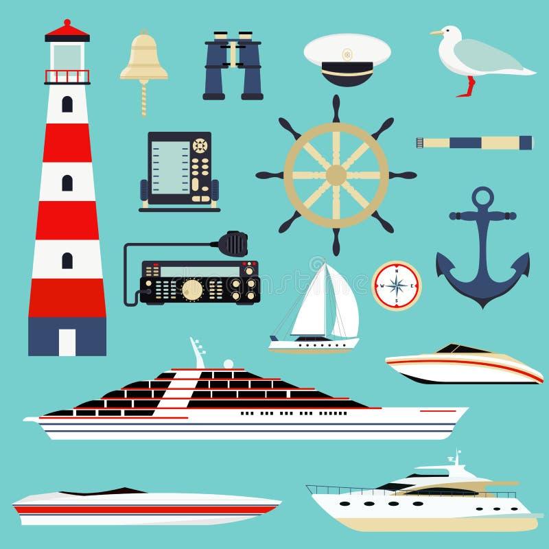 Nautiska och marin- symboler, vektor för symboler för designbeståndsdelhav royaltyfri illustrationer