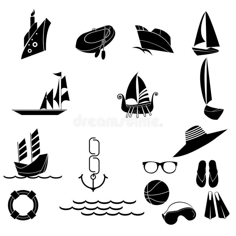 Nautiska och sommarsymboler royaltyfri illustrationer