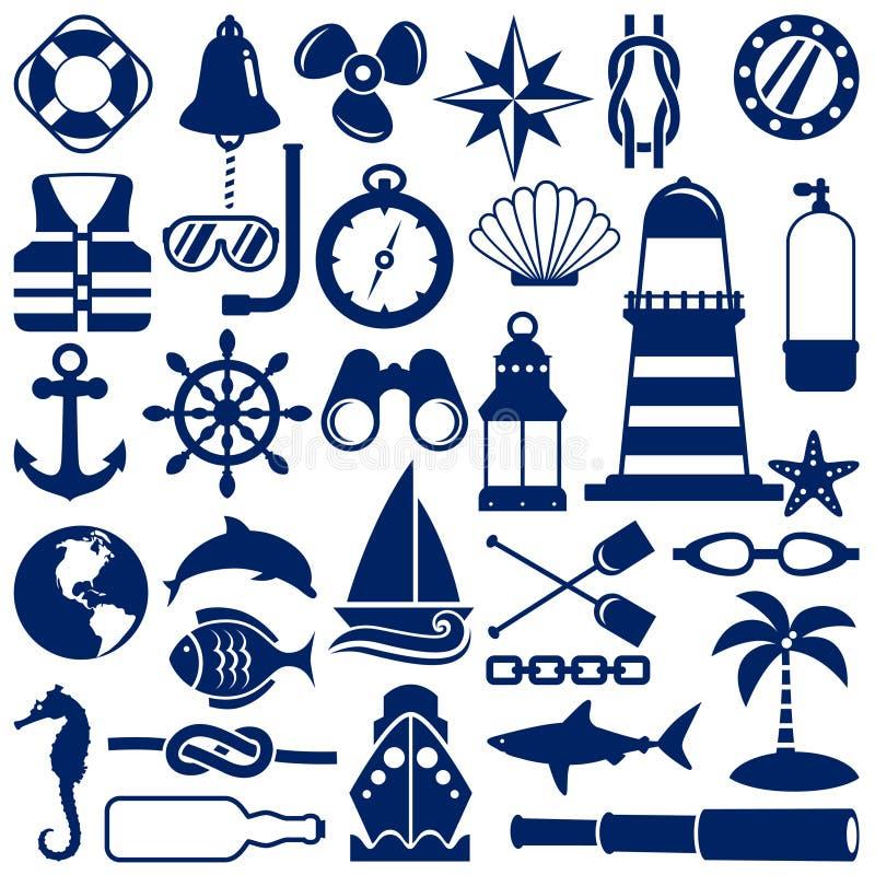 nautiska symboler vektor illustrationer