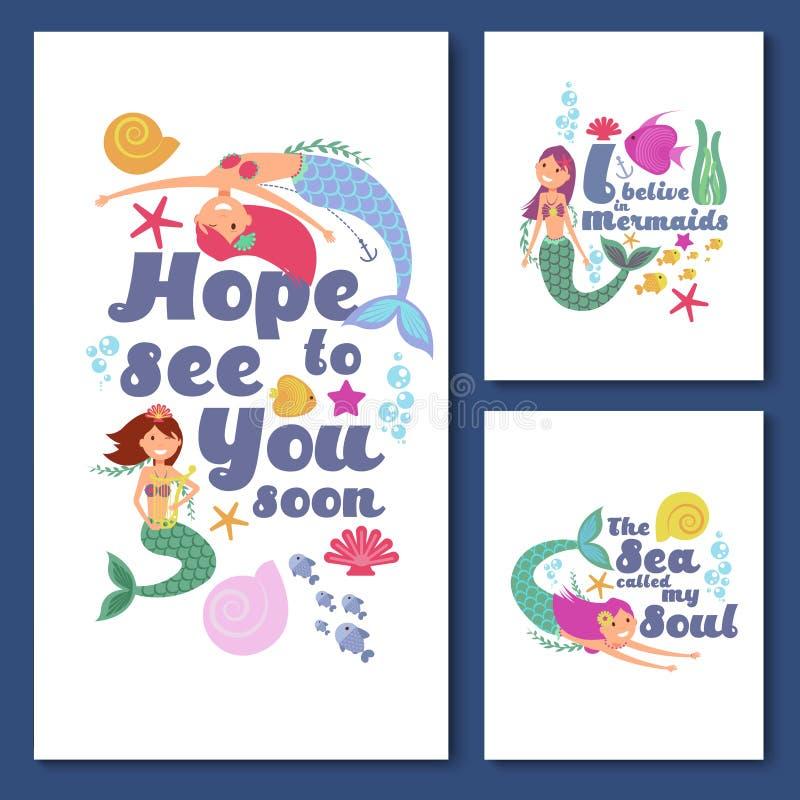 Nautiska vektorkort för gulliga ungar Marin- barns inbjudningar med roliga sjöjungfruflickor vektor illustrationer