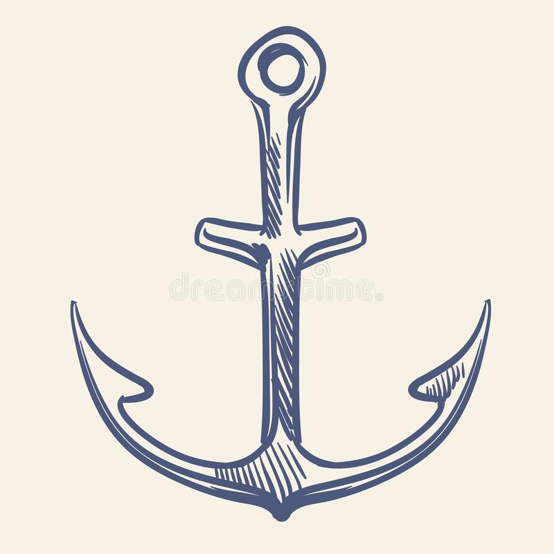 Nautiskt ankare för tappning Handen som drar flottan, skissar det gamla manuskriptet för affärsföretagloppet stock illustrationer