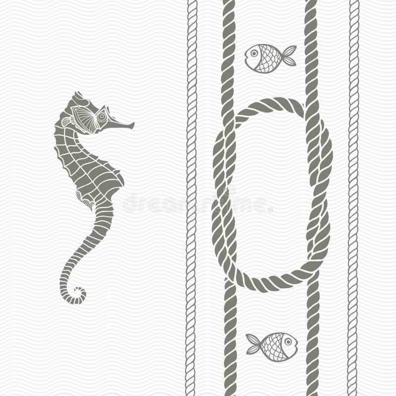 Nautiskt kort med ramen, marin- fnuren, rep, havshästen och fis vektor illustrationer