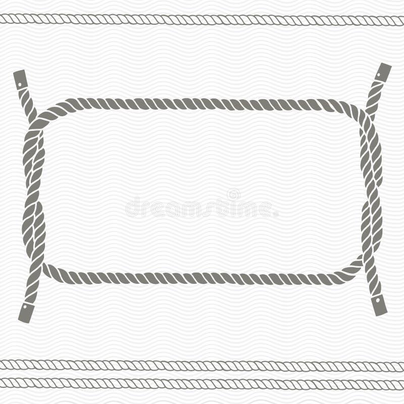 Nautiskt kort med ramen och rep stock illustrationer