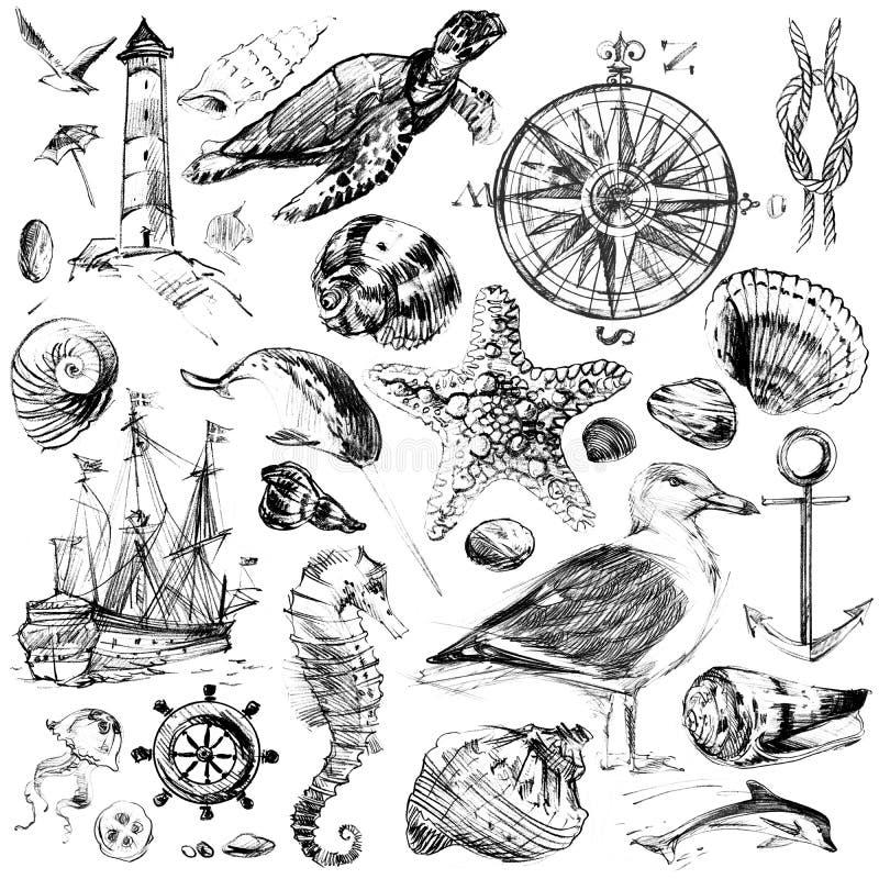 Nautiskt skissa bakgrund för design royaltyfri illustrationer