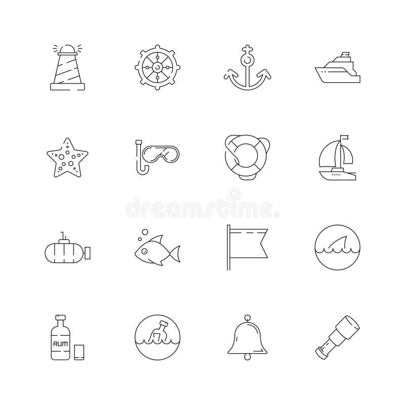 Nautyczna kolekcja Morskiego ocean wysyłki żeglowania symboli/lów przygody kapitanu nakrętki koła ryby dennego łódkowatego wektor ilustracji