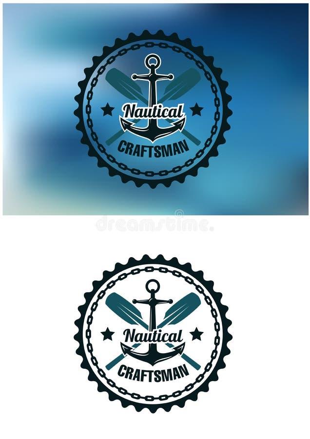 Nautyczna rzemieślnik odznaka, emblemat lub ilustracja wektor