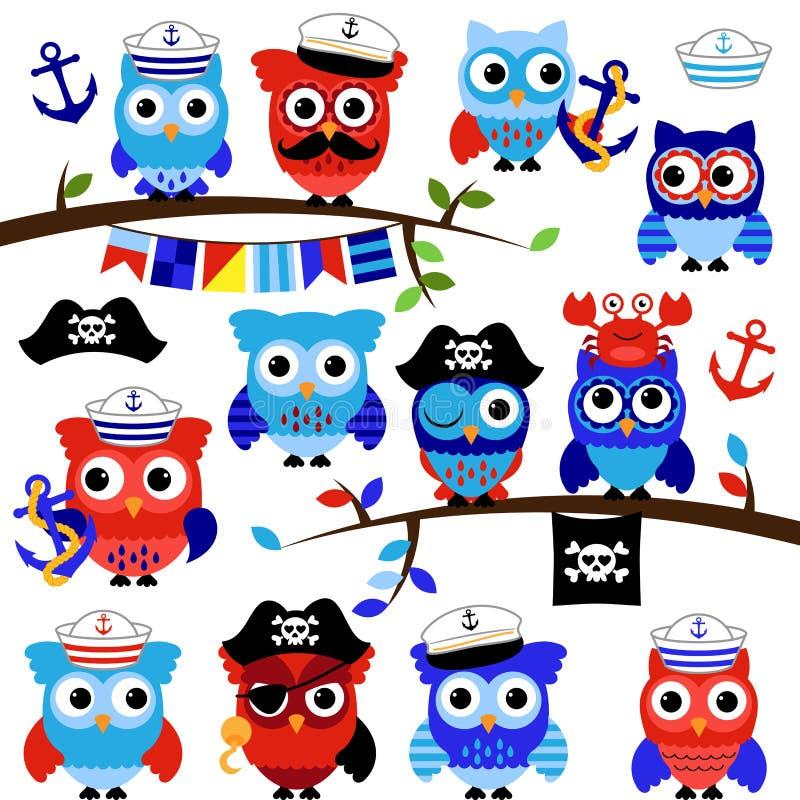 Nautyczne, żeglarz i pirat O temacie Wektorowe sowy, ilustracja wektor