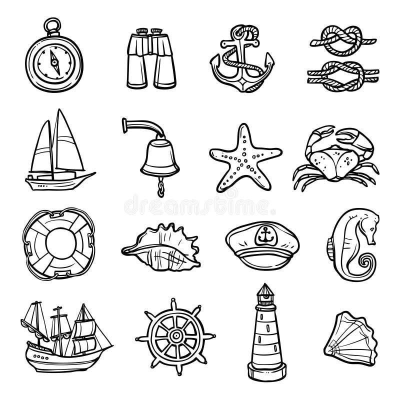 Nautyczne Czarne Białe ikony Ustawiać royalty ilustracja