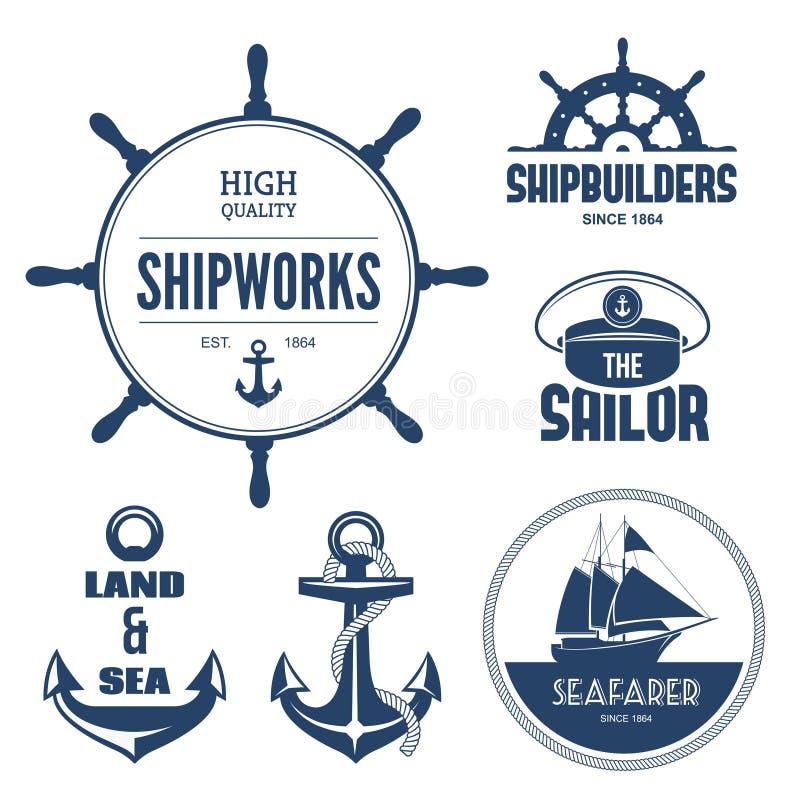 Nautyczne etykietki royalty ilustracja