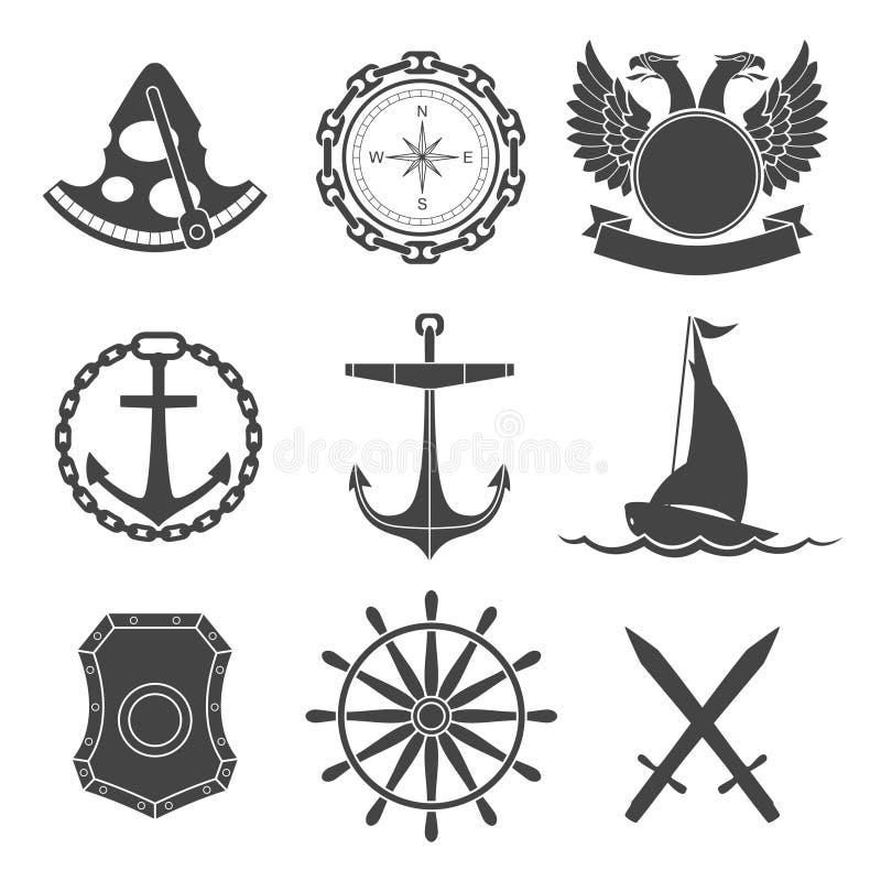 Nautyczne etykietki, ikony i projektów elementy, ilustracji