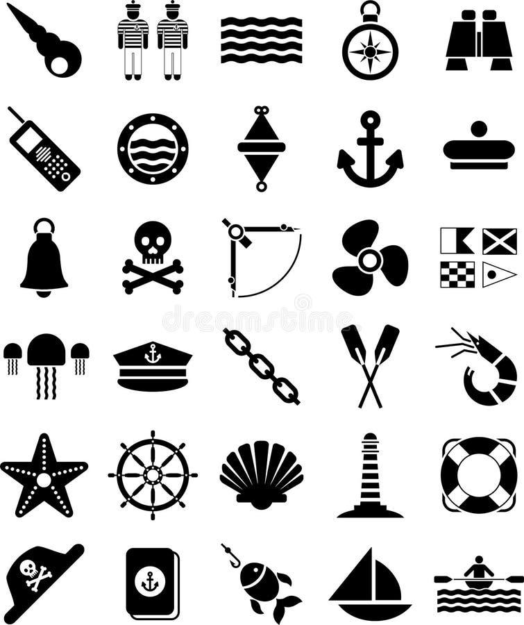 Nautyczne i morskie ikony obraz stock