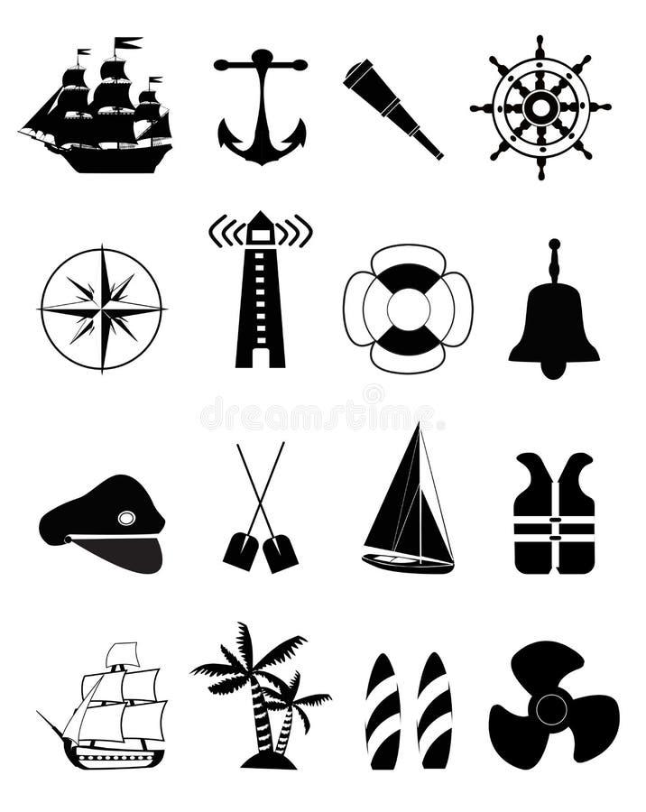 Nautyczne ikony royalty ilustracja