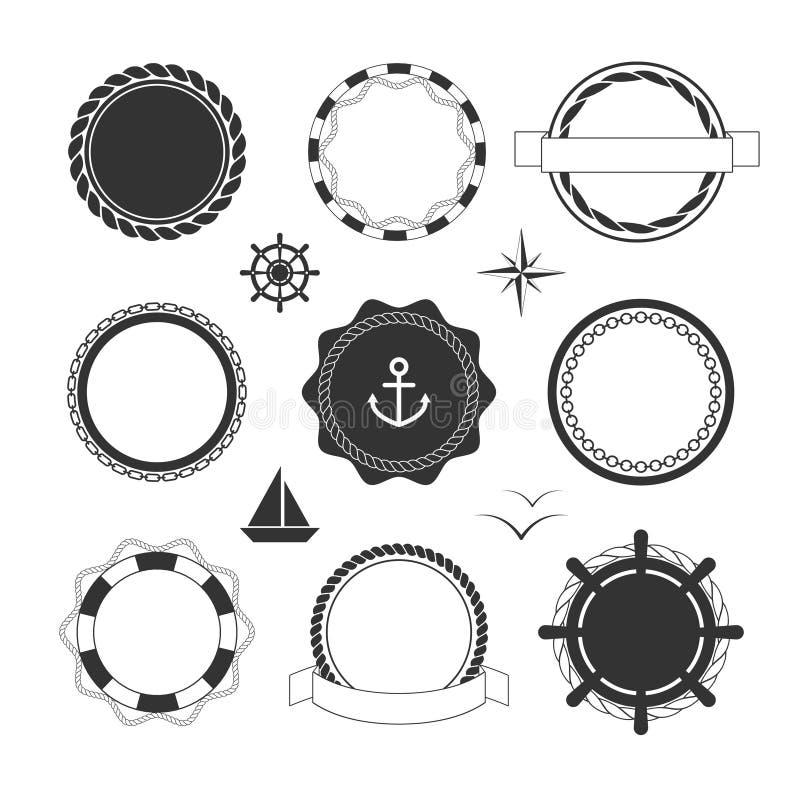 Nautyczne ikony i odznaka szablony ilustracja wektor