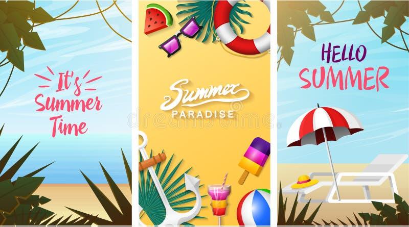 Nautyczne lato karty Żołnierza piechoty morskiej wakacje na plaży Tropikalny tło, kamera i kotwica, milkshake, deckchair royalty ilustracja