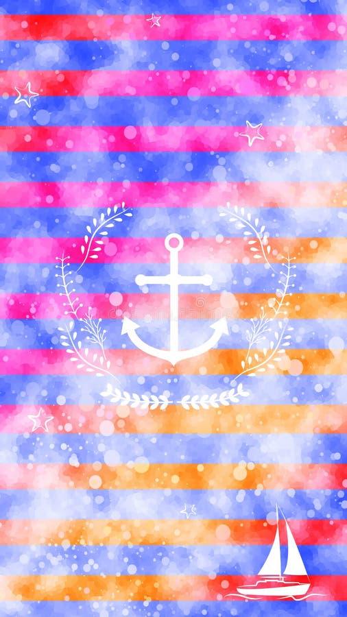 Nautycznego biel kotwicy wianku łódkowaty jacht paskuje kolorową akwareli tekstury tła tapetę royalty ilustracja