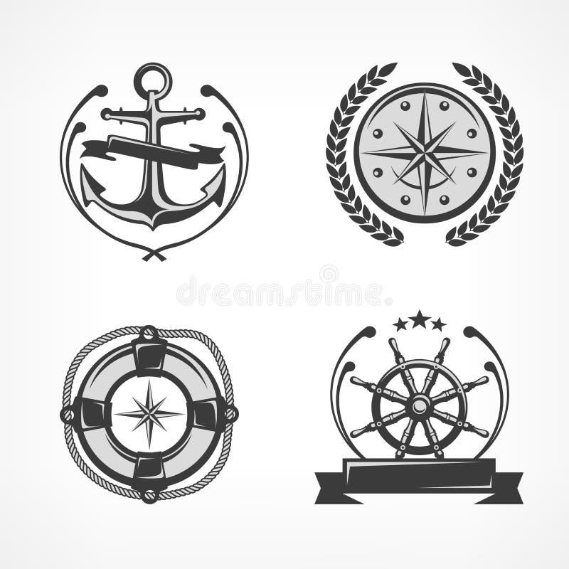 Nautyczni symbole ilustracja wektor