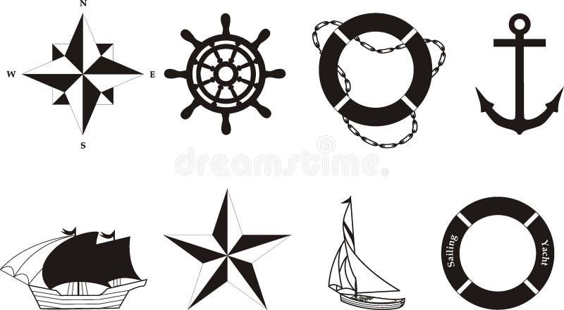 nautyczni symbole rasterized położenie ilustracja wektor