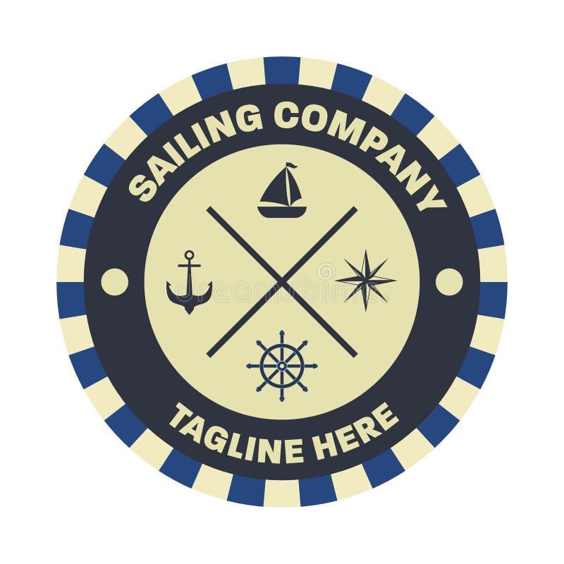 Nautyczny, żeglarza loga projekta szablon zdjęcia stock
