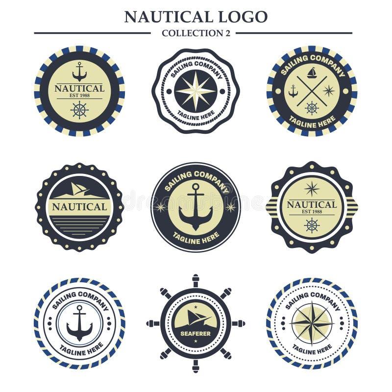 Nautyczny, żeglarza loga projekta szablon obraz royalty free