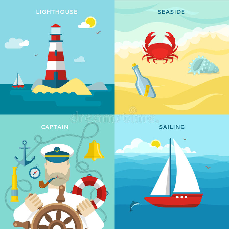 Nautyczny Barwiony ikona set ilustracji