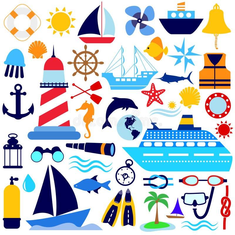 nautyczny ikona set