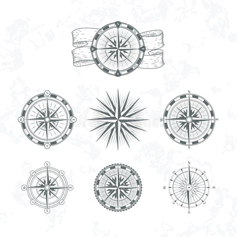 Nautyczny kompas Żołnierza piechoty morskiej wiatr wzrastał dla map Rocznik stylowe wektorowe ilustracje ilustracja wektor