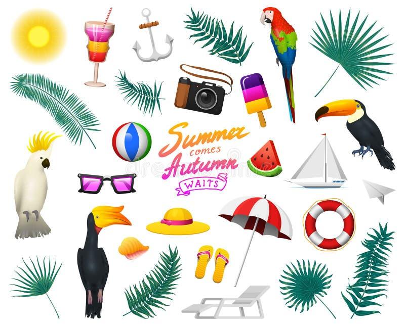 Nautyczny lato set Żołnierza piechoty morskiej wakacje na plaży Tropikalne rośliny, ptaki, kamera, kotwica, lody i milkshake, royalty ilustracja