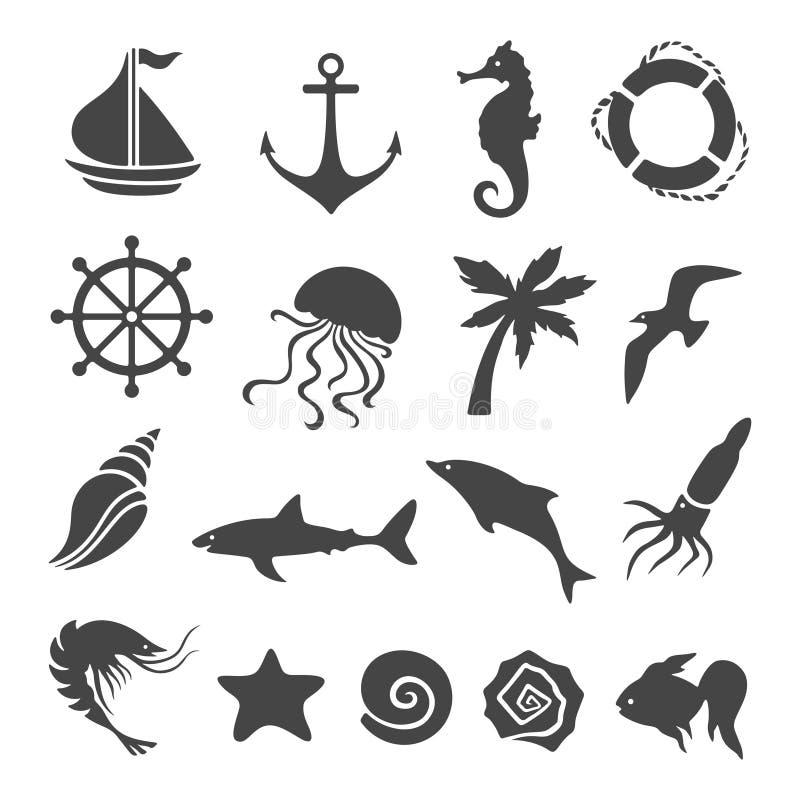 Nautyczny morze odnosić sie projektów elementy ustawiający również zwrócić corel ilustracji wektora royalty ilustracja