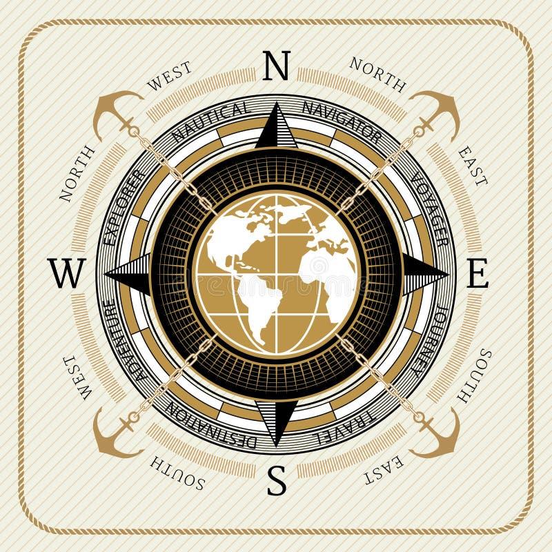 Nautyczny rocznika kompas 01 ilustracji