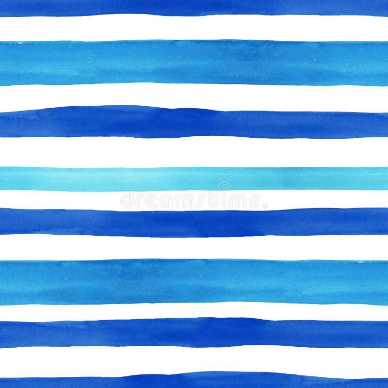 Nautyczny stylowy bezszwowy wzór z akwarela błękitnymi horyzontalnymi lampasami na białym tle Lato ręka rysująca tekstura royalty ilustracja