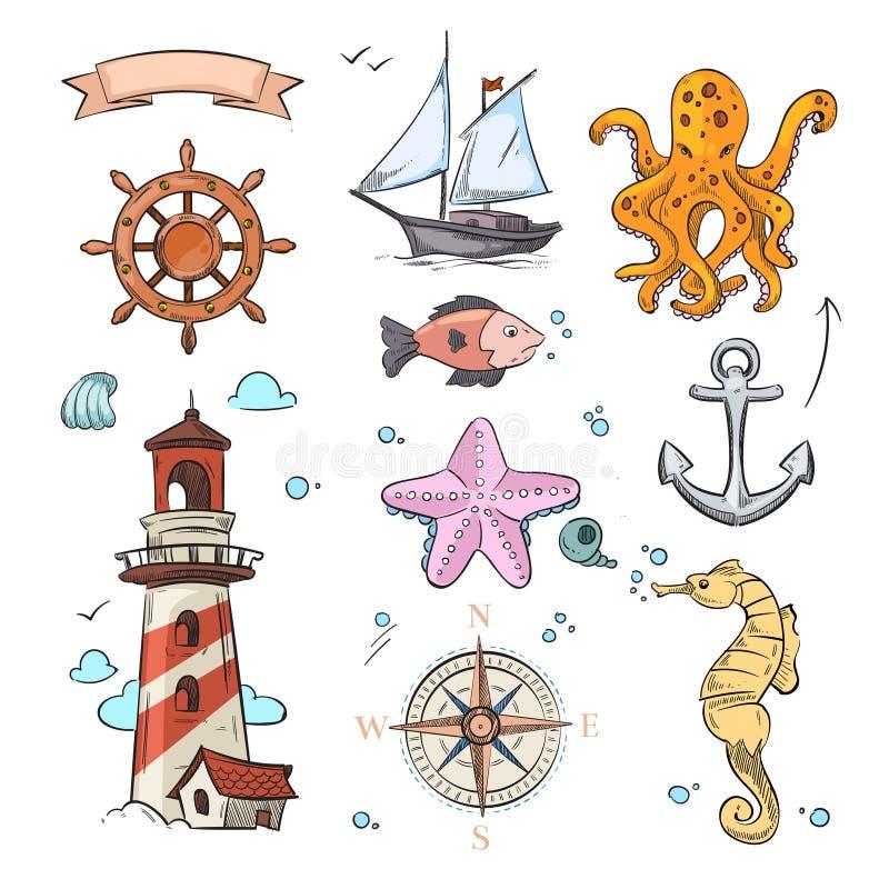 Nautyczny wektorowy doodle projekt ustawia z denną gwiazdą, ośmiornicą, żaglówką, kotwicą, kompasem i latarnią morską, ilustracji