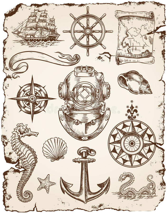 Nautyczny Wektorowy ilustracja set ilustracja wektor