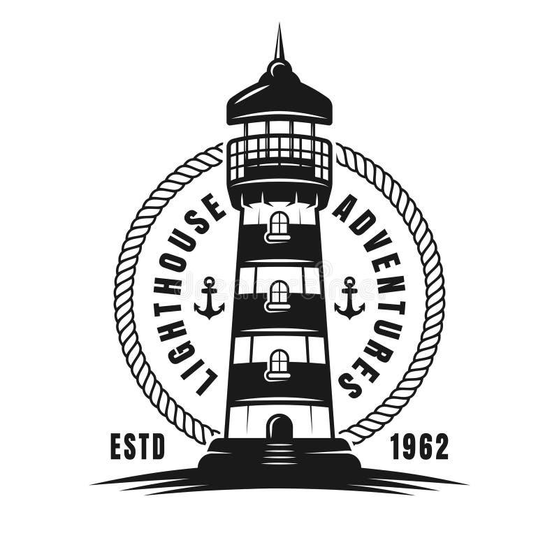Nautyczny wektorowy round czerni emblemat z latarnią morską ilustracji