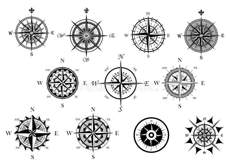 Nautyczny wiatr różany i cyrklowe ikony ustawiać royalty ilustracja