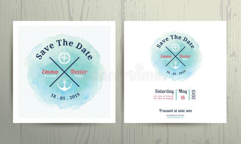 Nautyczny wodnego colour zaproszenia karty szablonu ślubny set royalty ilustracja