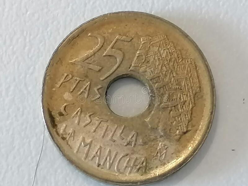 Nauwe munt van 25 peseta Spanje stock afbeeldingen