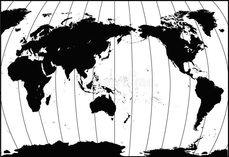 Nauwkeurige [gedetailleerde] Kaart II van de Wereld royalty-vrije illustratie