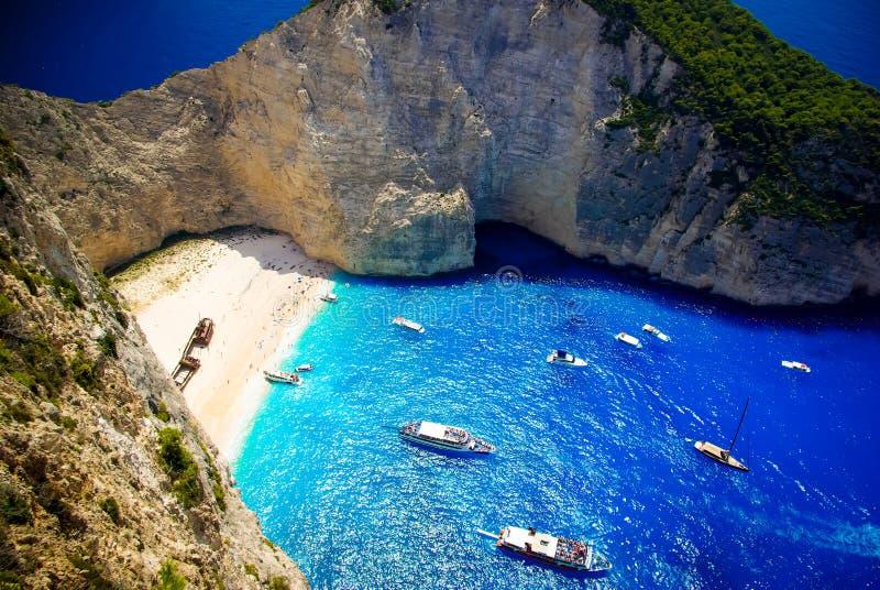 Navagio海滩-海难海滩,扎金索斯州海岛,希腊 免版税库存照片
