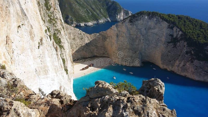 Navagio από τον απότομο βράχο - παραλία Ζάκυνθος ναυαγίου στοκ φωτογραφίες με δικαίωμα ελεύθερης χρήσης