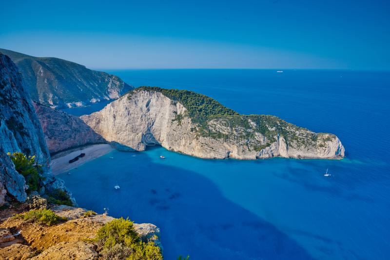 Navagio bay and Ship Wreck beach in summer. The famous natural landmark of Zakynthos, Greek island in the Ionian Sea royalty free stock photo