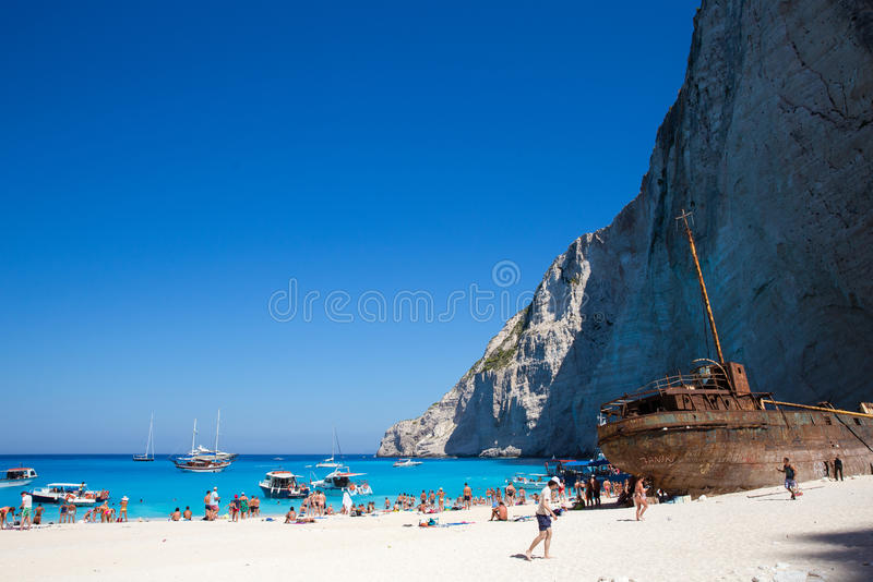 Navagio beach. Ship wrecked on the beach Navagio in Zakynthos stock photos